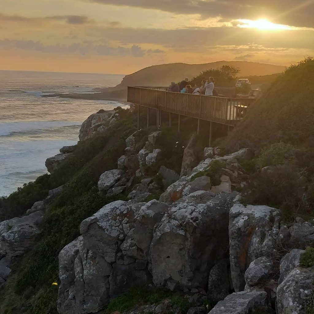 Sunset on Robberg Nature Reserve.  Enjoy a picnic or bbq overlooking the bay.